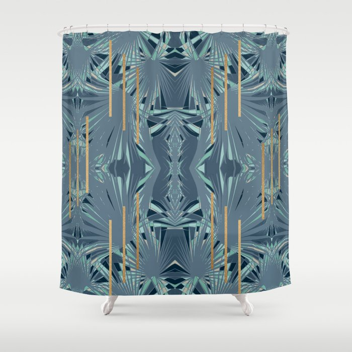Tropical Art Deco 11a Blue Green Gold Shower Curtain By Dominiquevari