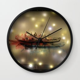 Boat on the River Wall Clock