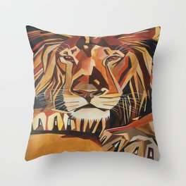 Lion Vector In Cubist Style Throw Pillow
