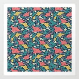 Manta Ray And Fish Pattern Art Print