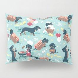 Hot dogs and lemonade // aqua background navy dachshunds Pillow Sham