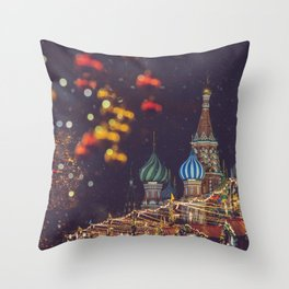 New Year and Christmas celebration in Moscow, Russia Throw Pillow