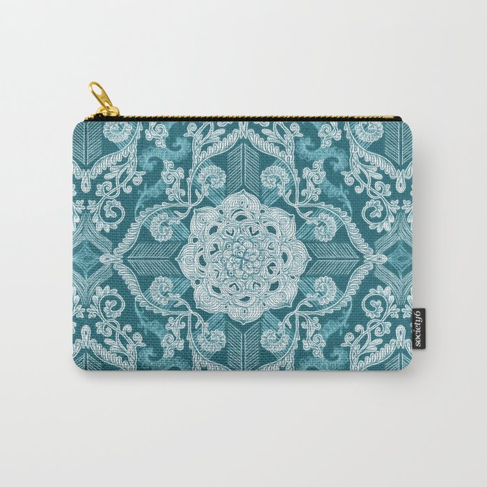 Centered Lace - Teal  Carry-All Pouch