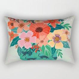 Jar with flowers, cute floral bouquet Rectangular Pillow