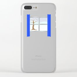Window view in winter Clear iPhone Case