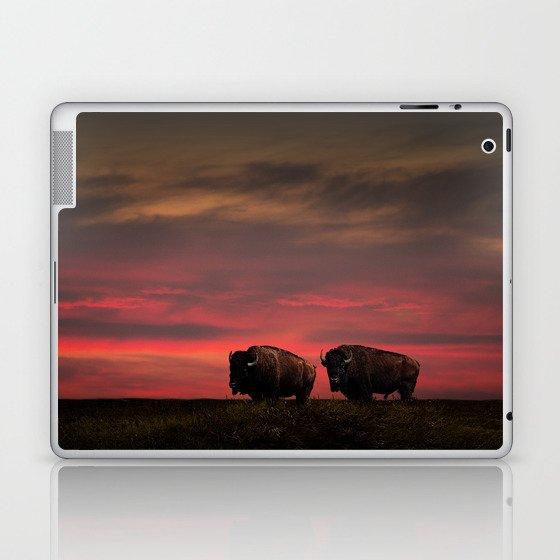 Two American Buffalo Bison at Sunset Laptop & iPad Skin