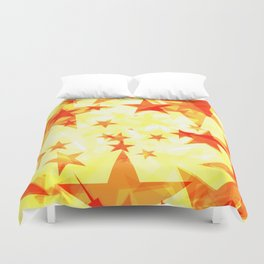 Glowing red and yellow stars on a light background in projection and with depth. Duvet Cover