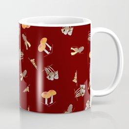Mushroom Pattern - Maroon Coffee Mug