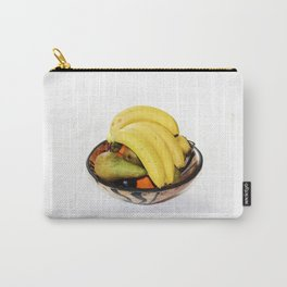 Fruit in a Wooden Bowl, Banana, orange, Pear, Plum Carry-All Pouch