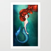 mermaid Art Prints featuring Mermaid by Annya Kai