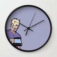 "clint barton Wall Clocks featuring Clint Barton -  ""Good boy"" by wasabinokiki"