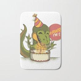T Rex Birthday Party RAWR I'm 5 Dinosaur Bath Mat