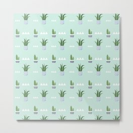 Modern teal green white triangles cactus floral pattern Metal Print