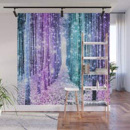 Magical Forest Lavender Aqua Teal Ombre Wall Mural