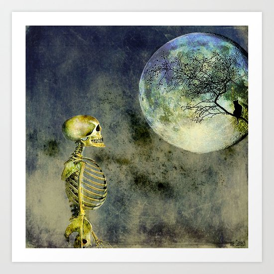 Skeleton in clear of the moon Art Print