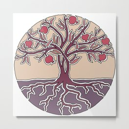 Pomegranate Tree of Life in Mauve and Warm Tones Metal Print