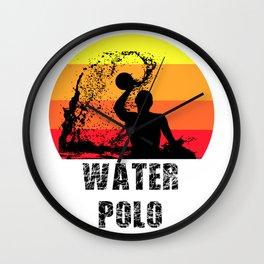 Water Polo Player Gift   Retro Vintage Sun Design Wall Clock