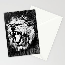 Black and White  Roaring Lion Digital Art Stationery Cards