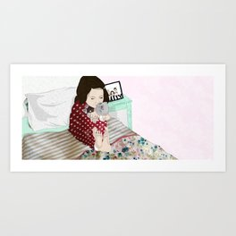 A Child's Love With a Teddy Art Print