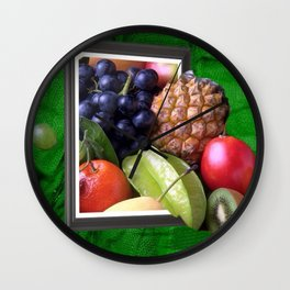 Modern Fruit Basket Still Life Wall Clock