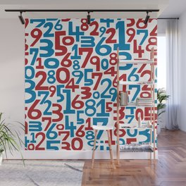 Red & blue numbers. Seamless pattern. Wall Mural