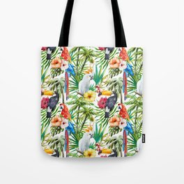 Tropical Birds Palm Trees Pattern Tote Bag