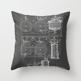 Brewery Patent - Beer Art - Black Chalkboard Throw Pillow