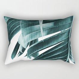 Banana leaves, Plant, Blue, Minimal, Modern, Wall art Rectangular Pillow