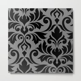 Flourish Damask Art I Black on Gray Metal Print