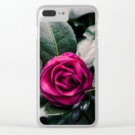 Purple Camellia Clear iPhone Case