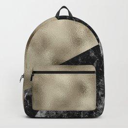Golden brass on black marble Backpack