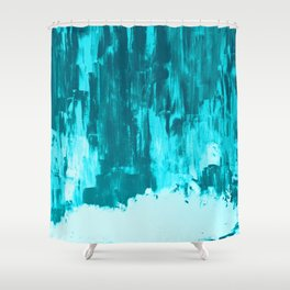 Bright Blue Snow Nights with Icicles Shower Curtain
