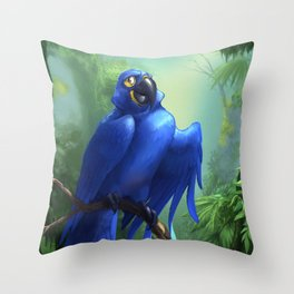 Moseley the Hyacinth Macaw Throw Pillow
