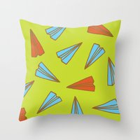 planes Throw Pillows featuring Paper Planes by evannave