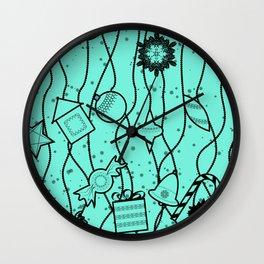 Turquoise bright Christmas pattern Christmas pattern . Wall Clock