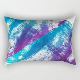 Cerulean Blue and Purple 90s Brush Abstract Rectangular Pillow