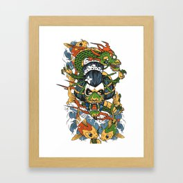 Geisha Skull Koi Fish Dragon Framed Art Print