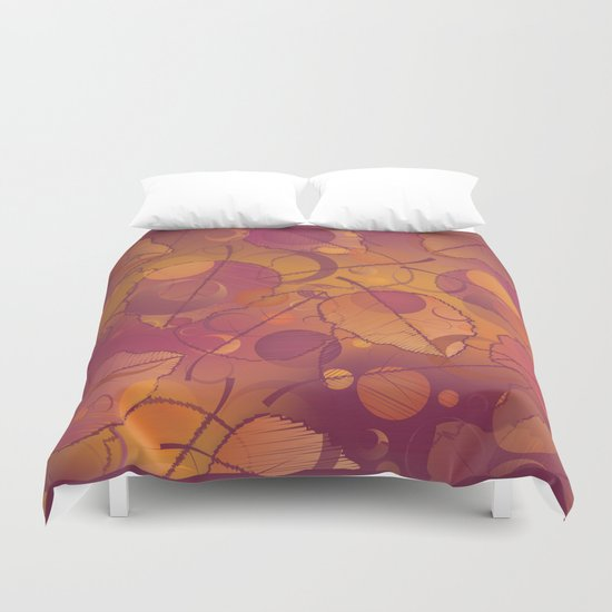Floating Autumn Leaves Duvet Cover
