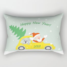 santa, dog and car 2018 Rectangular Pillow