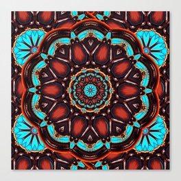 Abstract - Wood & Turquoise Pattern Canvas Print