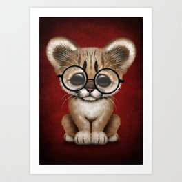 Cute Cougar Cub Wearing Reading Glasses on Red Art Print