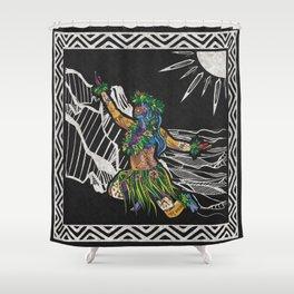 Polynesian Hula Dancer Tapa Print Shower Curtain