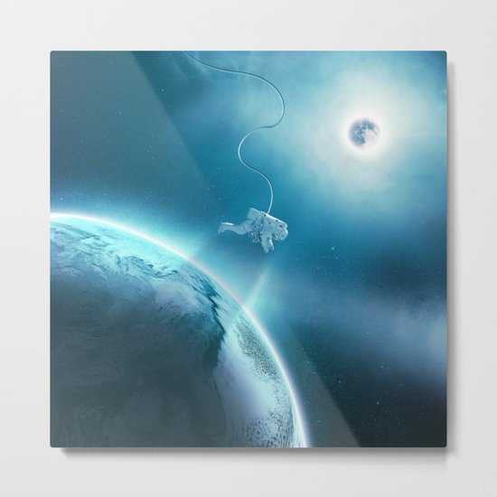 Astronaut Floating in Space Metal Print