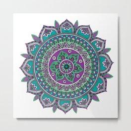 Purple and Green Mandala Art Metal Print