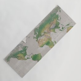 Rustic physical world map in taupe Yoga Mat