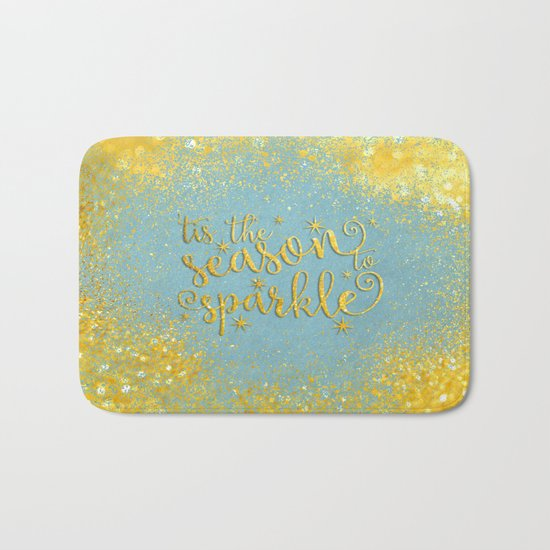 The season sparkle - Gold glitter effect Saying on aqua background on #Society6 Bath Mat