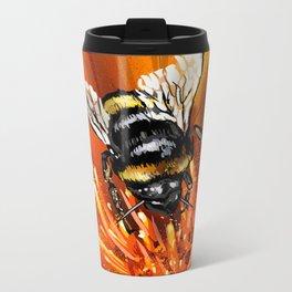 Bee on flower 1 Metal Travel Mug