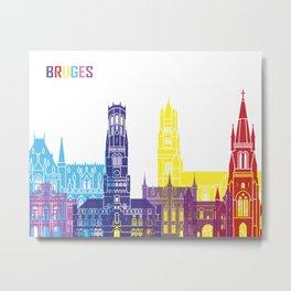 Bruges skyline pop Metal Print
