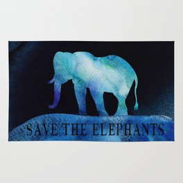 Save The Elephants Watercolor Painting Rug