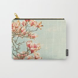 Pink Magnolia Flowers on Aqua Blue Green and French Script Carry-All Pouch